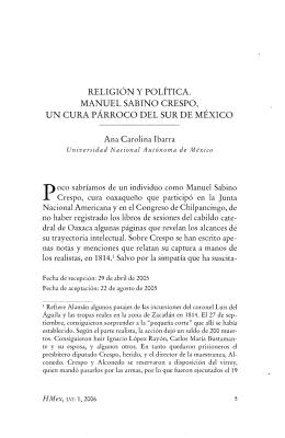 RELIGIÓN Y POLÍTICA. MANUEL SABINO CRESPO, UN CURA