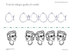 Pinta los dibujos iguales al modelo.