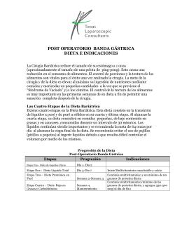 POST OPERATORIO BANDA GÁSTRICA DIETA E INDICACIONES