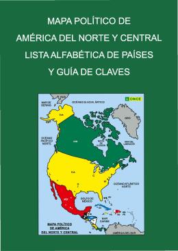 Mapa político de América del Norte y Central. Lista alfabética