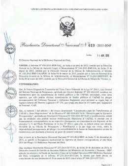 RESOLUCIÓN DIRECTORAL NACIONAL 029-2015-BNP