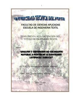 TEMA : ANÁLISIS Y OBTENCIÓN DE COLORANTE NATURAL A