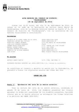 Acta del Distrito Valdelagrana del 30 de septiembre de 2014