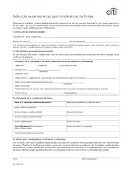 Instrucciones permanentes para transferencias de fondos