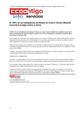 El 100% de los trabajadores de Nissan en Cuatro Vientos (Madrid