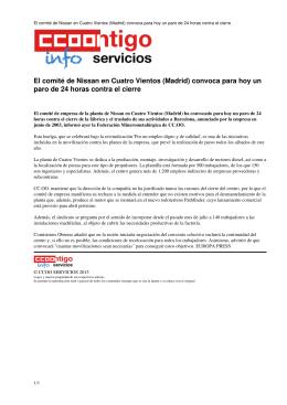 El comité de Nissan en Cuatro Vientos (Madrid) convoca para hoy