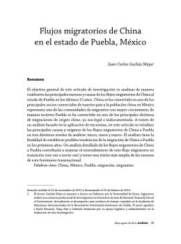 Flujos migratorios de China en el estado de Puebla, México