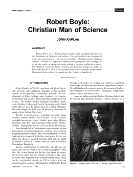 Robert Boyle: Christian Man of Science