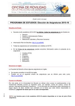 Elección de Asignaturas 2015-16