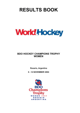 results book bdo hockey champions trophy women