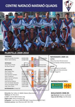 centre natació mataró quadis patrocinadores: plantilla 2009-2010