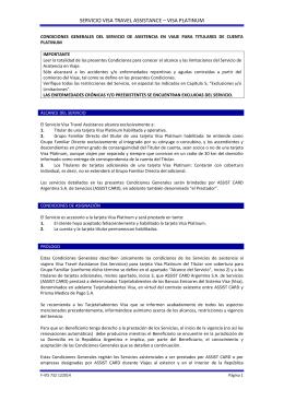 SERVICIO VISA TRAVEL ASSISTANCE – VISA PLATINUM
