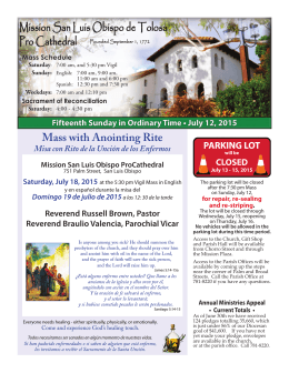 Mass with Anointing Rite - Mission San Luis Obispo de Tolosa