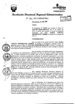 Resolución Directoral Nº 984-2013-GRSM/ORA | Fecha