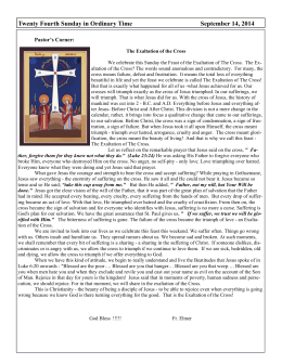 Twenty Fourth Sunday in Ordinary Time September 14, 2014