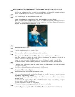 Reseña Cronológica de la vida de Bernardo O`Higgins