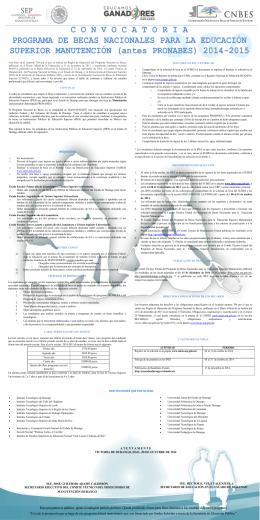 convocatoria becas pronabes 2014-2015