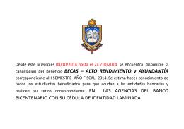 cancelación del beneficio BECAS – ALTO RENDIMIENTO y
