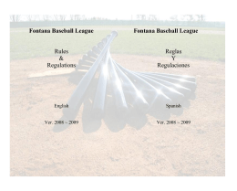 Fontana Baseball League Rules & Regulations Fontana Baseball