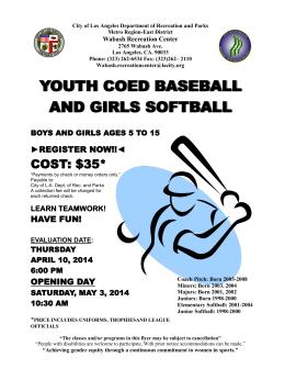 youth coed baseball and girls softball