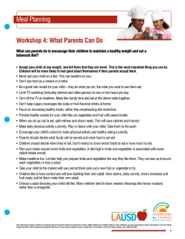 Meal Planning Workshop 4: What Parents Can Do
