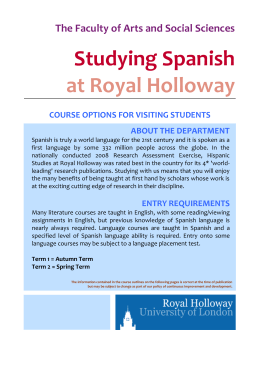 Spanish 2013-14 - Royal Holloway