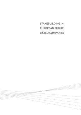 STAKEBUILDING IN EUROPEAN PUBLIC LISTED COMPANIES