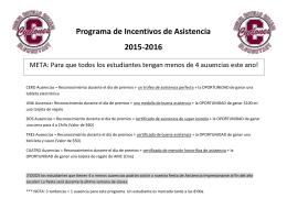 Programa de Incentivos de Asistencia 2015-2016