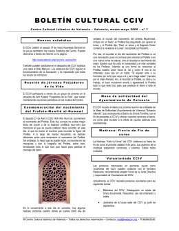 BOLETÍN CULTURAL CCIV - Centro Cultural Islámico de Valencia