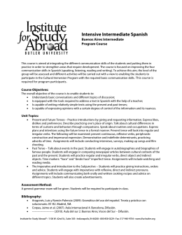 Intensive Intermediate Spanish - Institute for Study Abroad, Butler