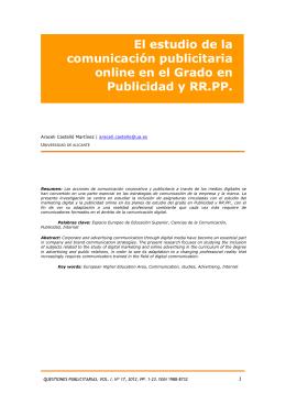 El estudio de la comunicación publicitaria online en el
