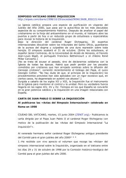 SIMPOSIO VATICANO SOBRE INQUISICION http://elpais.com/diario