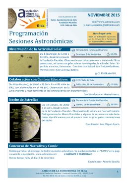 Programación Sesiones Astronómicas