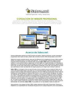 COTIZACION DE WEBSITE PROFESIONAL Acerca de Sabro.net: