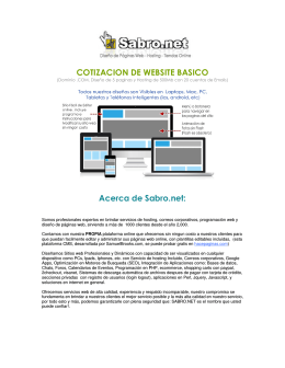 COTIZACION DE WEBSITE BASICO Acerca de Sabro.net: