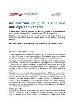 Air Nostrum inaugura la ruta que une Vigo con Londres