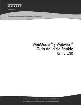 WebMaster® y WebAlert® Guía de Inicio Rápido Estilo USB