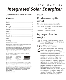 Integrated Solar Energizer User Manual