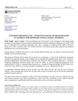 univision holdings, inc. announces filing of registration