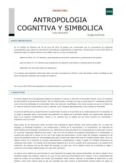 ANTROPOLOGIA COGNITIVA Y SIMBOLICA