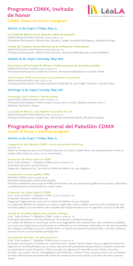 Programa CDMX, Invitada de honor Programación general