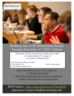 Berkeley Law LL.M. Information Session Tuesday, November 17, 2015