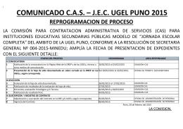 comunicado cas – jec ugel puno 2015 reprogramacion de proceso