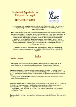 Sociedad Española de Psiquiatría Legal Noviembre 2010