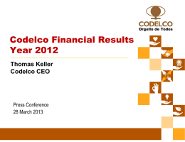 Codelco Financial Results Year 2012
