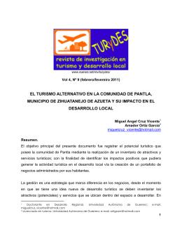 el turismo alternativo en la comunidad de pantla, municipio de