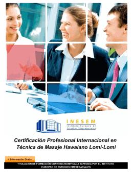 Certificación Profesional Internacional en Técnica de Masaje