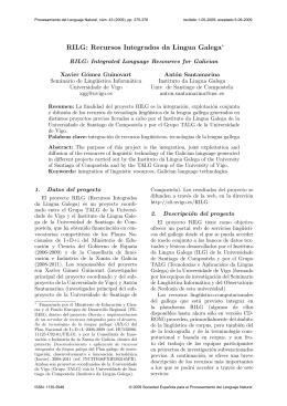 RILG: Recursos Integrados da Lingua Galega∗