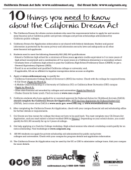 14-2430-5 CSAC 10 Things You-Dream Act ENG/SP G