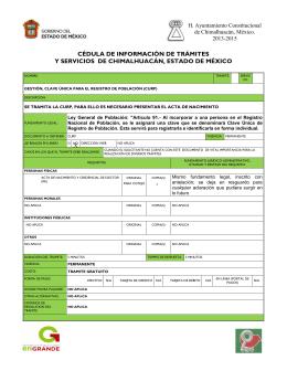 CÉDULA DE INFORMACIÓN DE TRÁMITES
